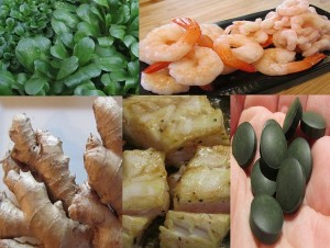 Lebensmittel zum Abnehmen Feldsalat Garnelen Ingwer Kabeljau Skrei und Spirulina